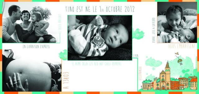 Faire part de naissance de Tino, par Poulette de bresse